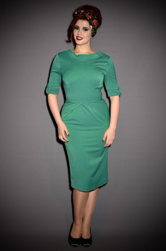 60's wiggle dress - Hollywood Green dress by the Pretty Dress Company at Deadly is the Female