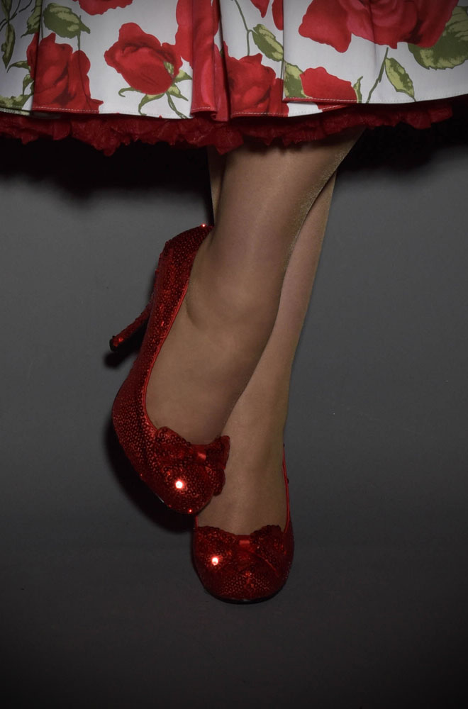 Pinup Dorothy Shoes in Red Sequins
