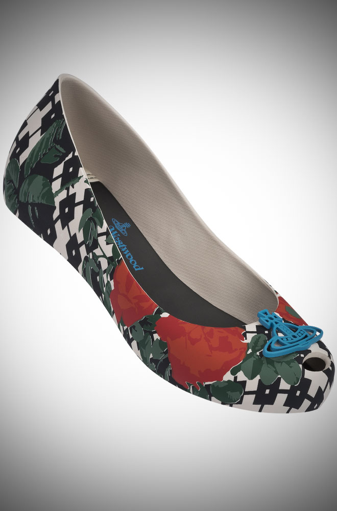 Vivienne Westwood + Melissa red and black floral Ultragirl Pumps with blue Orb at Deadly is the Female