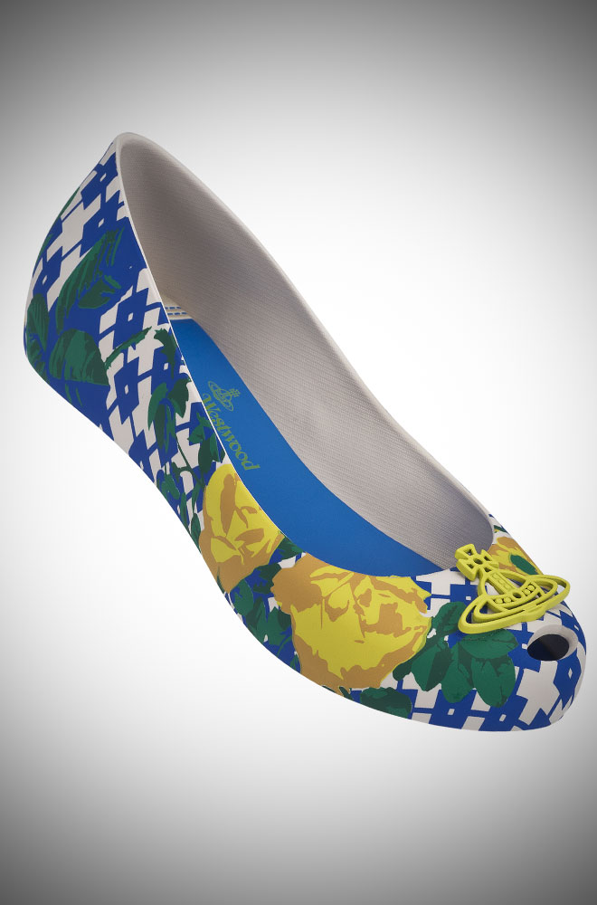 Vivienne Westwood + Melissa blue and yellow floral Ultragirl Pumps with Orb at Deadly is the Female