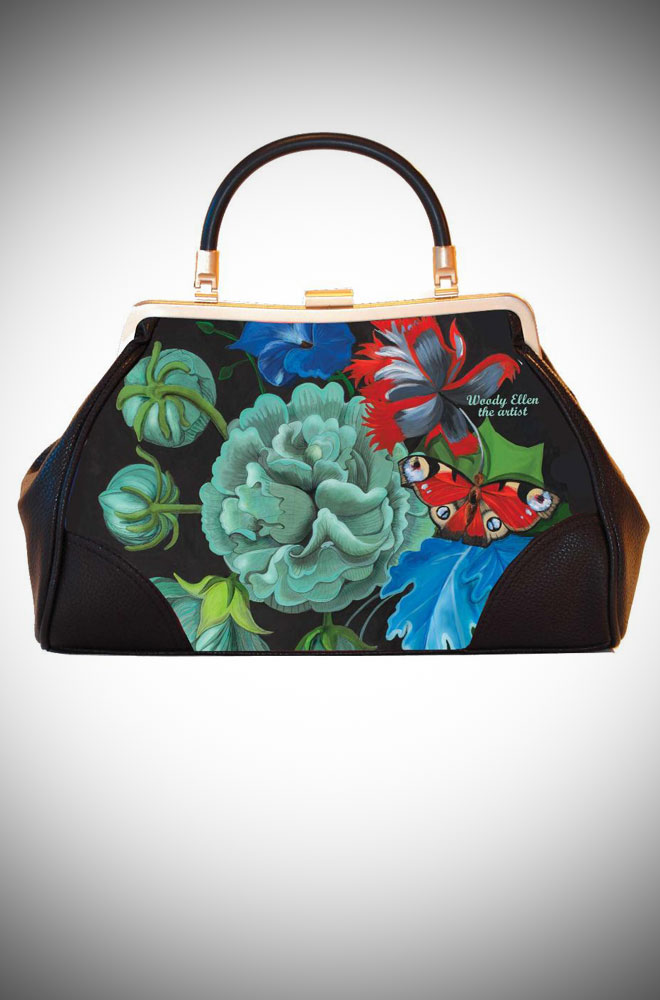 Woody Ellen the Artist, Ladylike Retro Handbag clutch featuring burlesque floral artwork