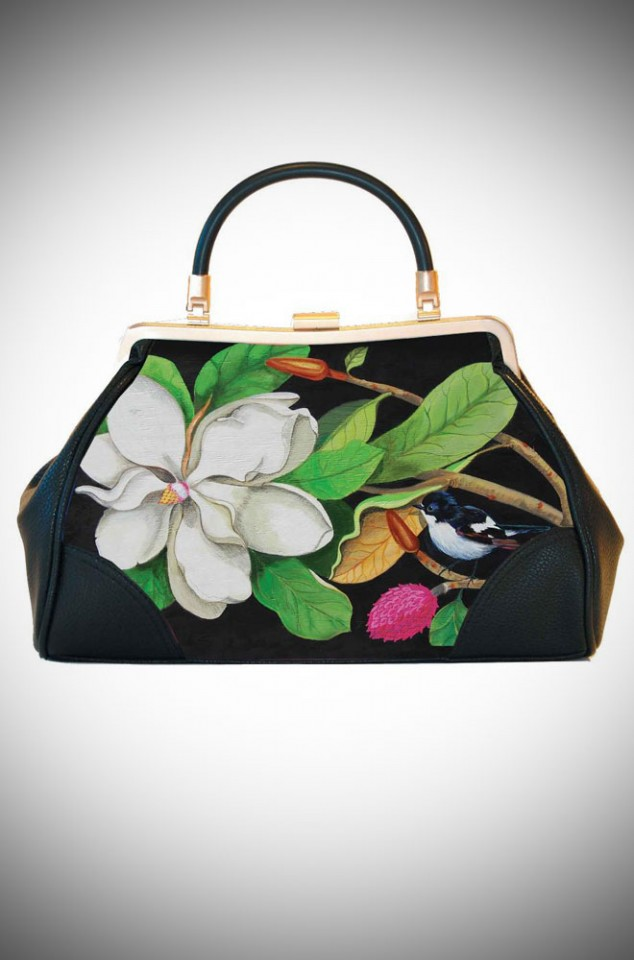 Woody Ellen the Artist, Ladylike Retro Handbag clutch featuring fresh pinup floral artwork