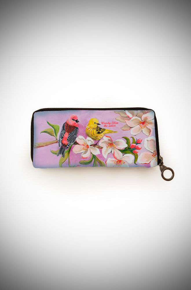 Woody Ellen the Artist, elegant and vintage inspired wallet featuring Bloom artwork in lilac