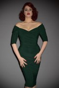Green Monica Dress by Laura Byrnes for Pinup Girl Clothing - the ultimate 50's wiggle dress UK stockists Deadly is the Female