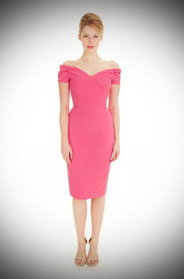 Fatale - Hot Pink Bardot style off the shoulder wiggle dress by the pretty dresscompany at Deadly is the Female
