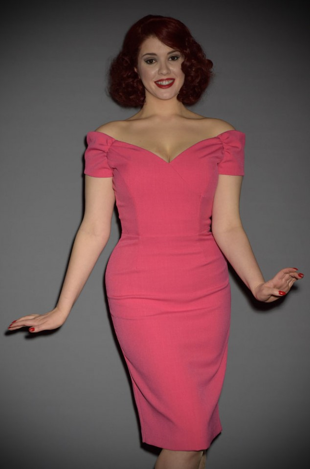 Hot Pink Fatale Bardot style off the shoulder wiggle dress by the pretty dresscompany at Deadly is the Female