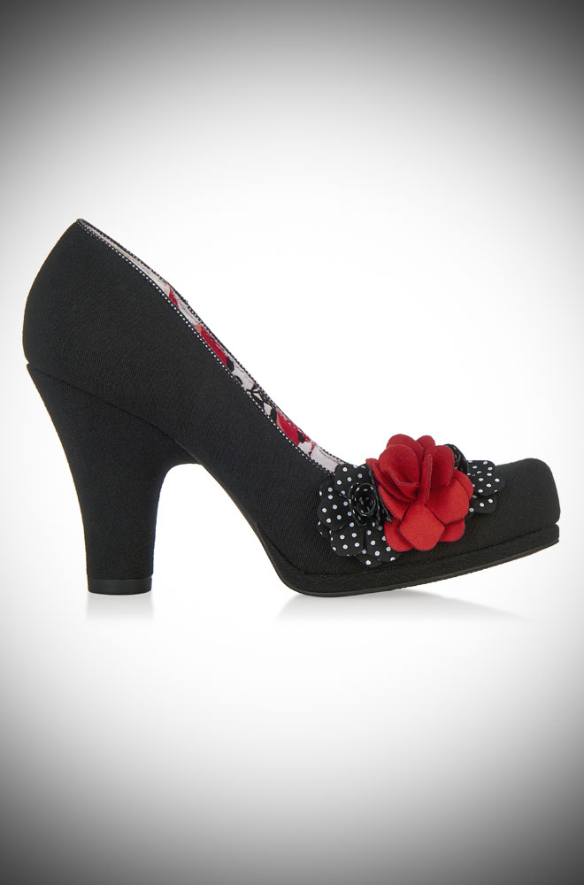 Eva vintage style black, red & polka dot rose court shoes - Deadly is the Female