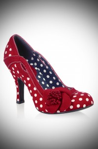 Issy red & white polka dot retro shoes by Ruby Shoo at Deadly is the Female