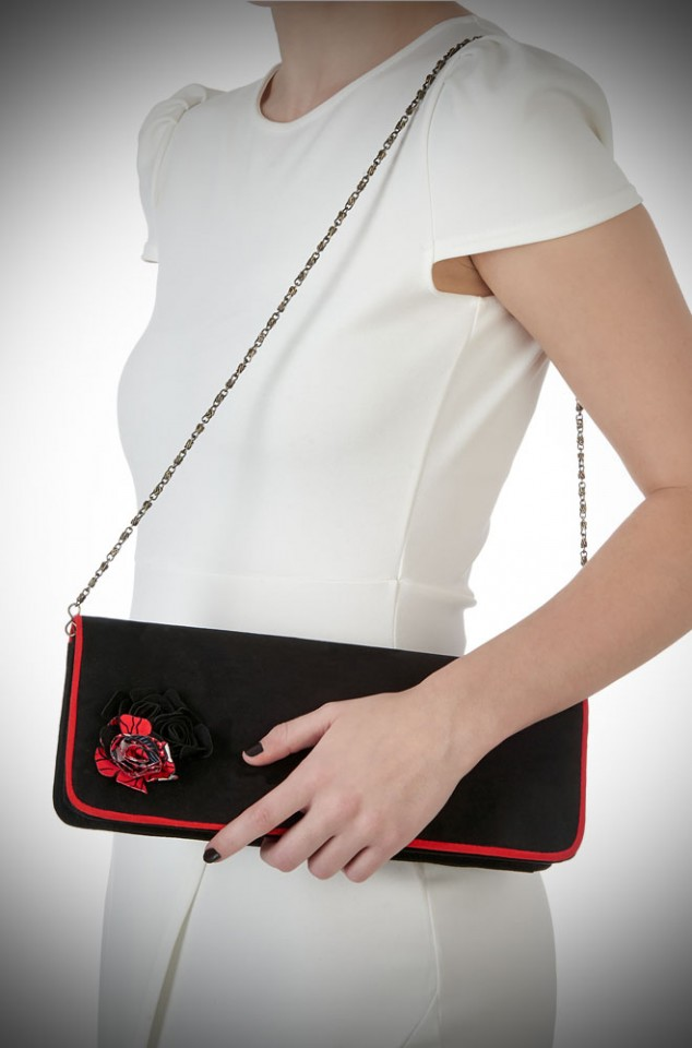 London Bag by Ruby Shoo - a black and red clutch bag with floral corsage detail