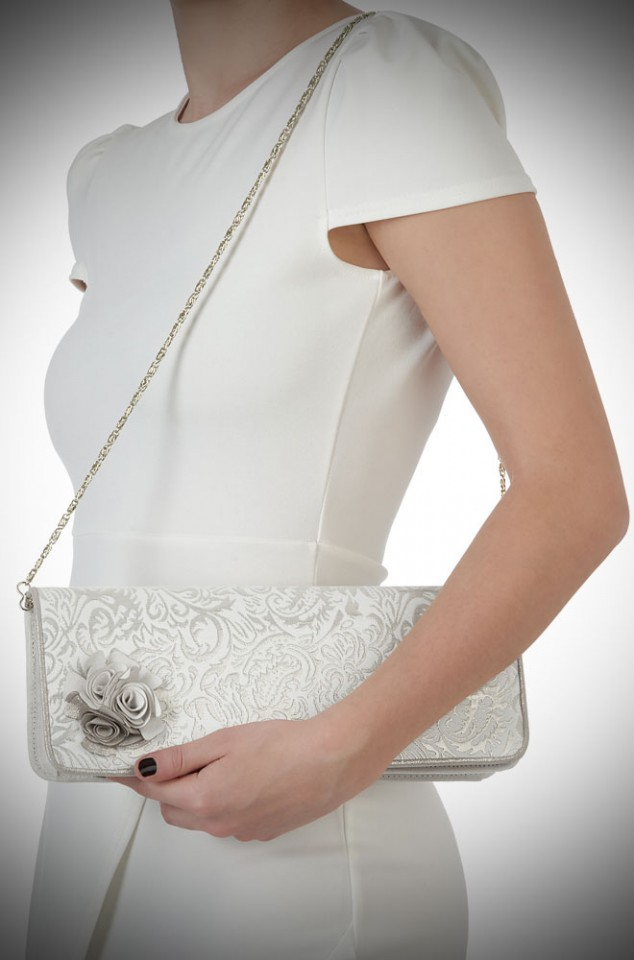 London Bag by Ruby Shoo - a cream and gold clutch bag with floral corsage detail