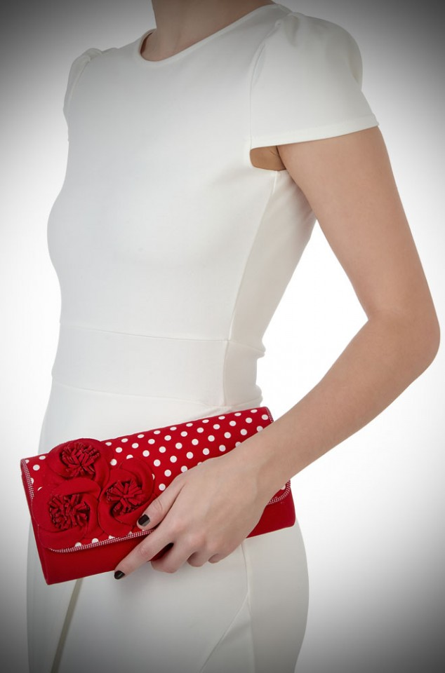 Issy Bag by Ruby Shoo - a red and white polka dot clutch bag with oversized red rose details