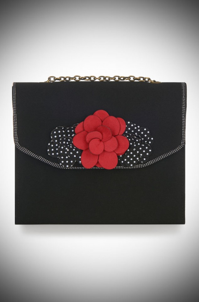 Oslo Bag by Ruby Shoo - a black vintage inspired box bag with red and polka dot rose details