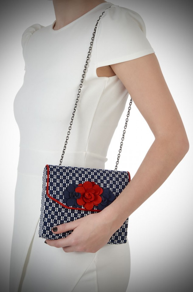 Oslo Bag by Ruby Shoo - a navy and white spotty, vintage inspired bag with red roses
