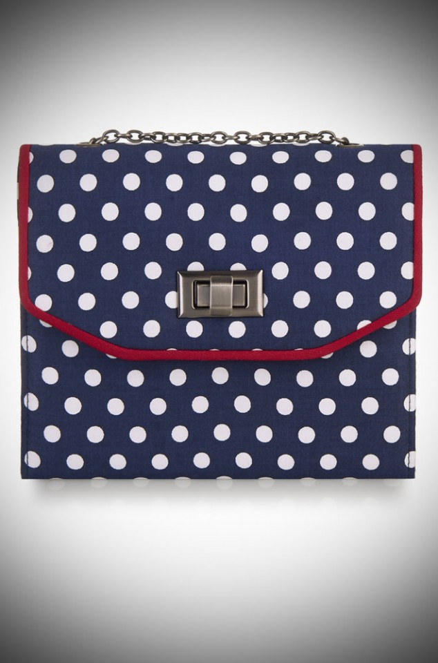 Venic Bag by Ruby Shoo - a blue and white spotty box bag with red trim
