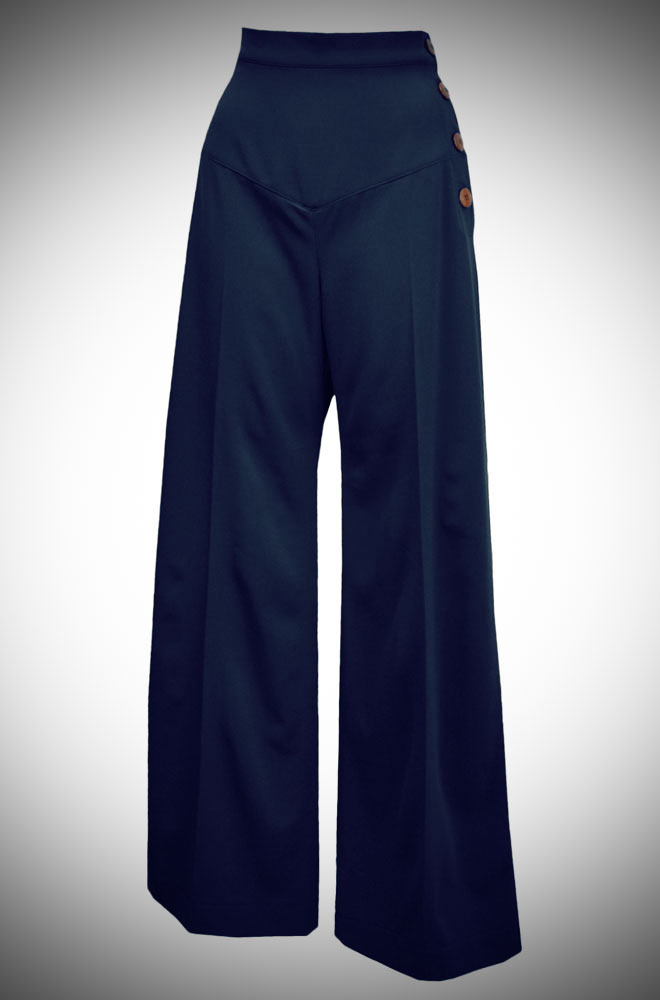 30s Wide Leg Trousers in Navy at Deadly is the Female
