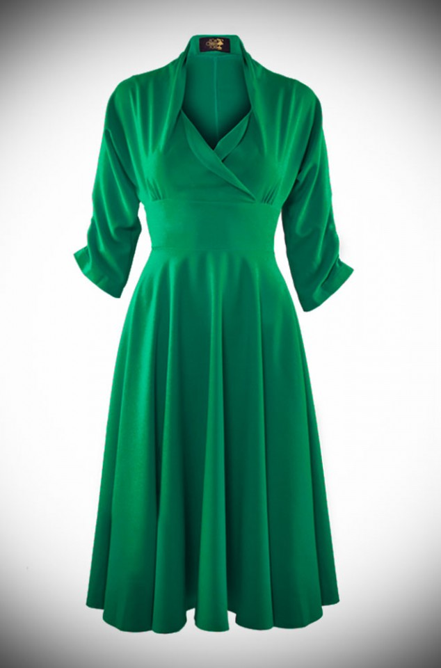 Emerald Green 1950's style dress with a circle swing skirt