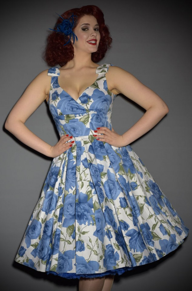 Ascot Dress - a 1950s style Blue Sorrento Rose Swing dress by The Pretty Dress Company - perfect for pinup girls and vintage lovers
