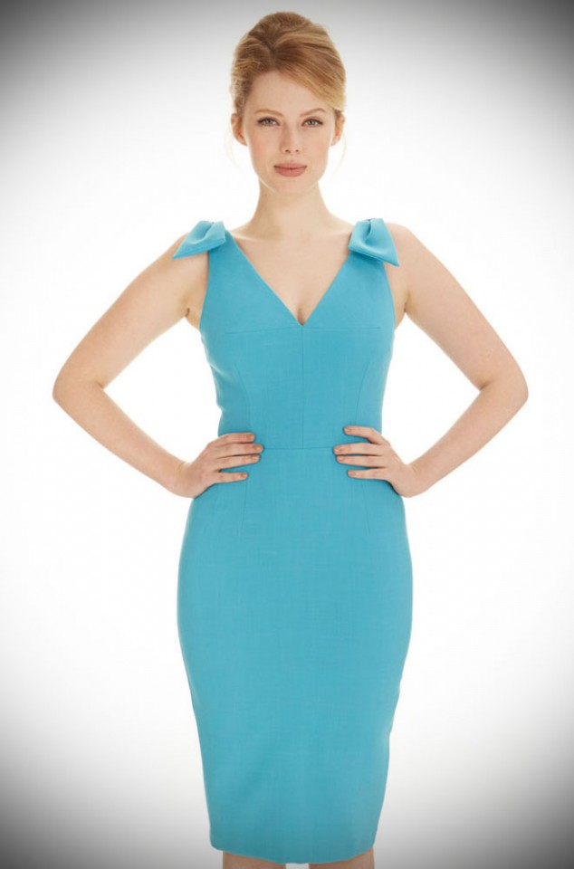 Ava Wiggle Dress in Turquoise Luxury Crepe by The Pretty Dress Company at Deadly is the Female