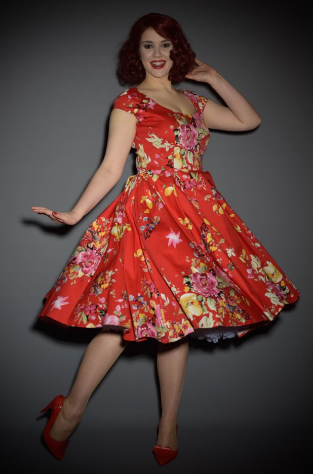 50s style summer dress in Red Seville Floral Print by the Pretty Dress Company at Deadly is the Female