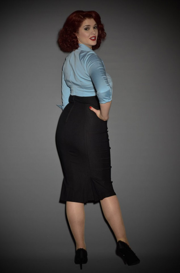 Lauren Dress 1950's style wiggle dress in blue by Pinup Couture at UK stockists Deadly is the Female