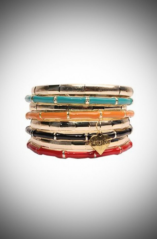 Mid-century bamboo inspired rainbow bangle set for pinup girls & vintage lovers