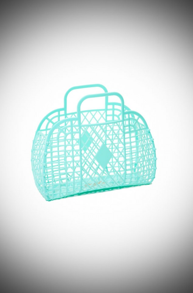 Emily Retro Basket Bag - Mint recyclable jelly basket bag