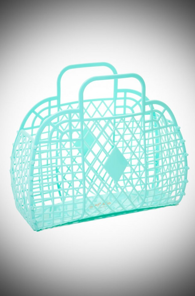 Flora Retro Jelly Handbag - Mint Green recyclable basket bag