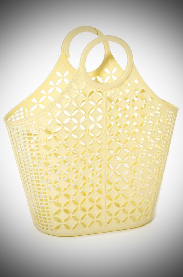 Jane Atomic Tote Bag - a yellow recyclable plastic carrier bag.