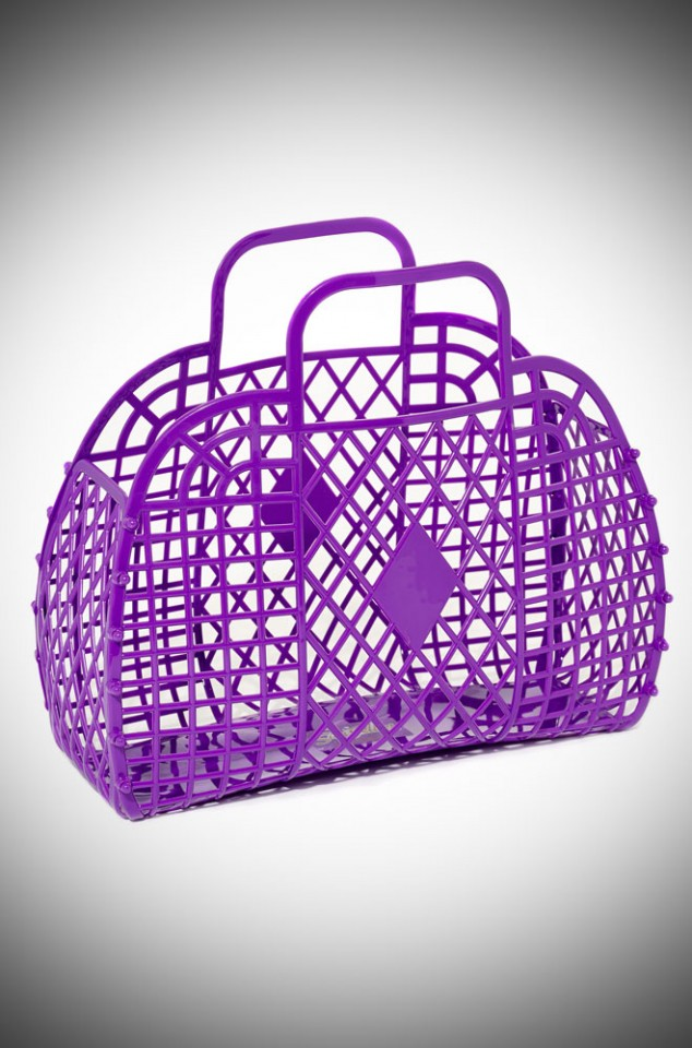Katy Retro Jelly Handbag - Violet Purple recyclable basket bag