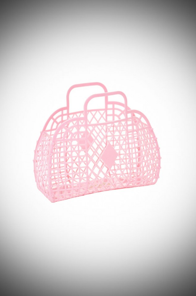 Matilda Retro Basket Bag - Pink recyclable jelly basket bag