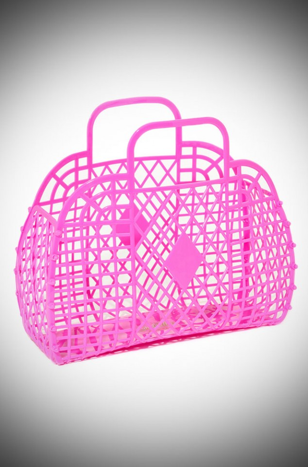 Molly Retro Jelly Handbag - Hot Pink recyclable basket bag