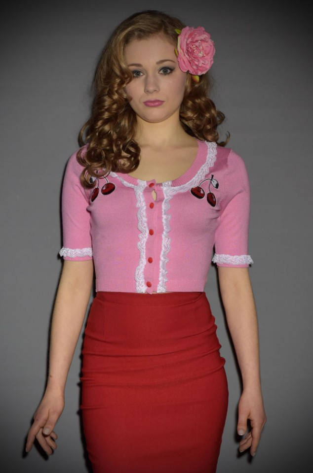 Cherry Cardigan in Pink & Red at Deadly is the Female