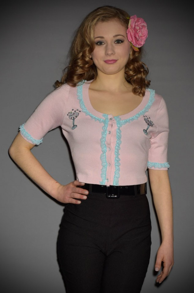 Bella Pinup Cardigan with Toast of the Town Champagne design