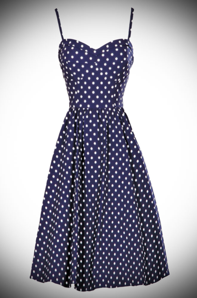 50s Navy and White polka Dot Summer Time Swing dress by Stop Staring at UK stockists - Deadly is the Female. A perfect pin up dress in eggplant purple.