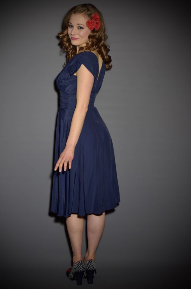 Trashy Diva 1940's Dress in Navy Rayon at Official UK Stockists Deadly is the Female