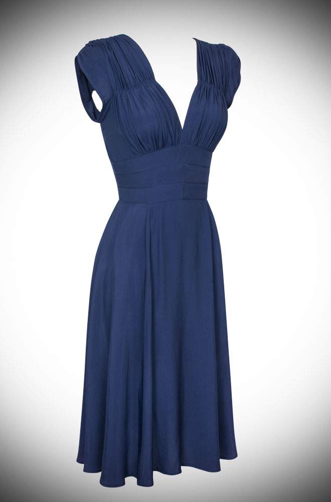 Navy Rayon 1940's dress by Trashy Diva at Official UK Stockists Deadly is the Female