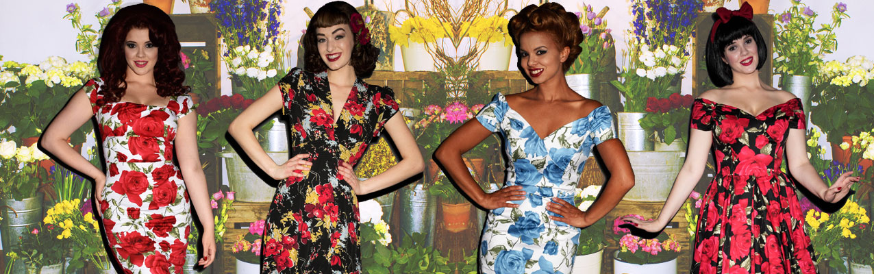 vintage inspired 50s floral dresses, skirts and swimwear from Pinup Girl Clothing, The Pretty Dress Company, Stop Staring, Trashy Diva and more at UK stockists Deadly is the Female