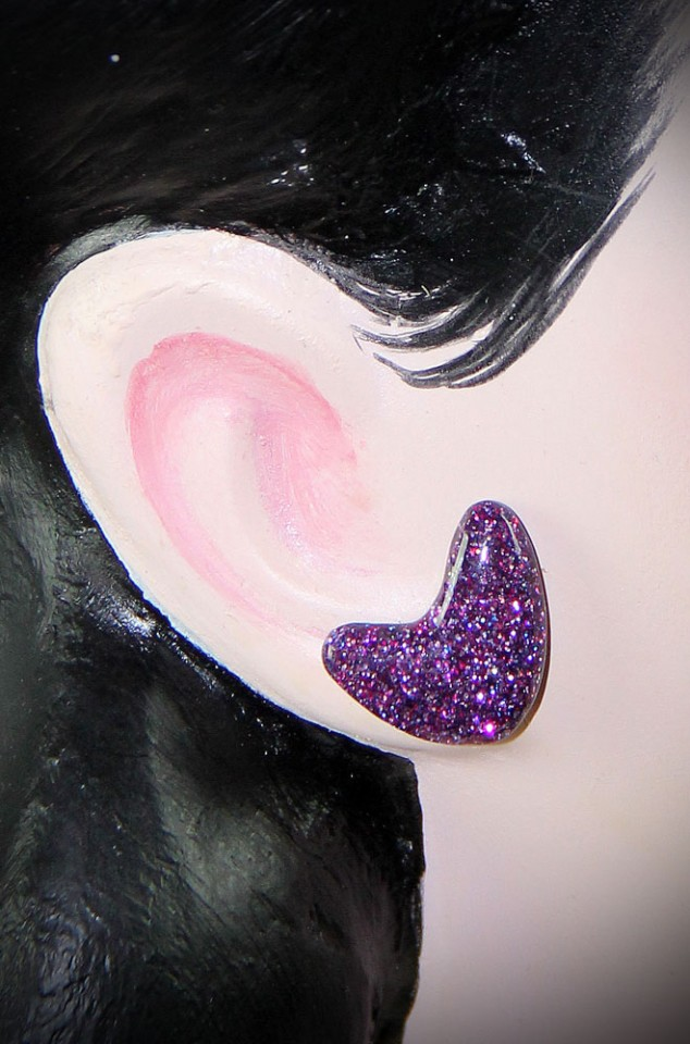 Purple Confetti Lucite Boomerang Studs at Deadly is the Female