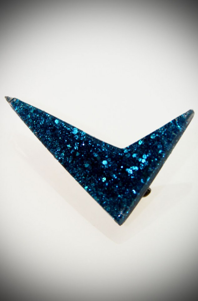 Confetti Lucite Boomerang Brooch in blue at Deadly is the Female