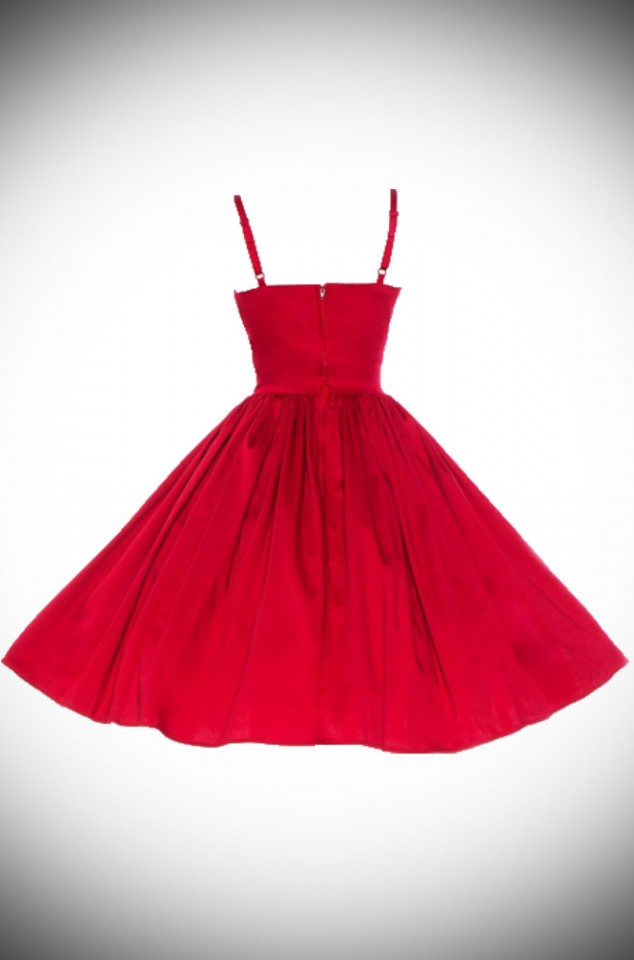 Jenny Dress in Red back view by Pinup Couture at UK stockists, Deadly is the Female