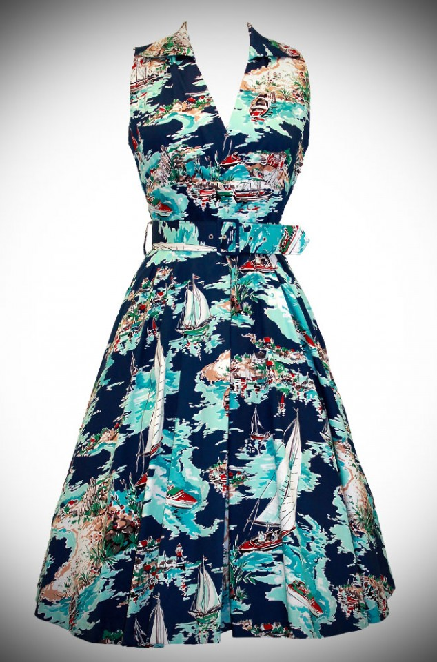 50's style holiday dress in blue, the Laura Dress in Riviera Print