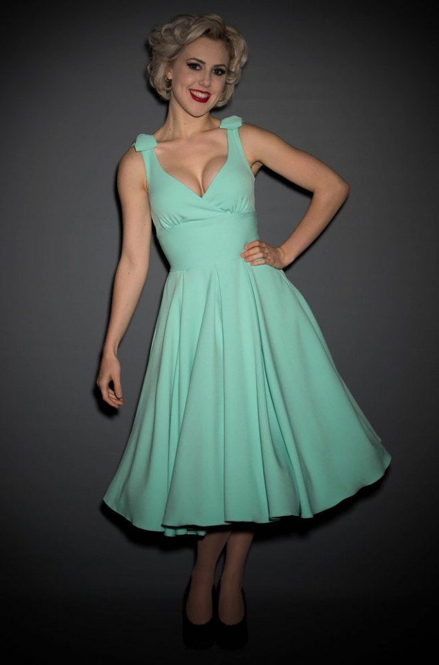 50's style Ascot Dress in Mint by The Pretty Dress Company - perfect for pinup girls and vintage lovers