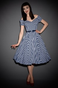 Fatale 50's style Prom Dress in navy & white oversized gingham by The Pretty Dress Company at Deadly is the Female. Perfect for Pinups & vintage lovers.
