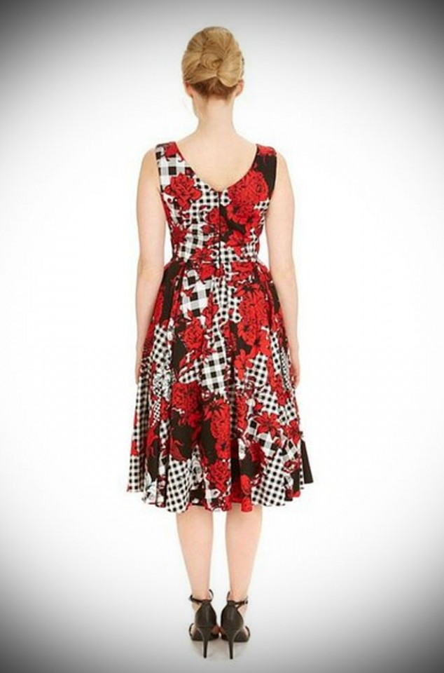 Ida Dress in Dixie Print - a 50's style floral gingham swing dress Ideal for weddings and as a summer dress by The Pretty Dress Company at Deadly is the Female