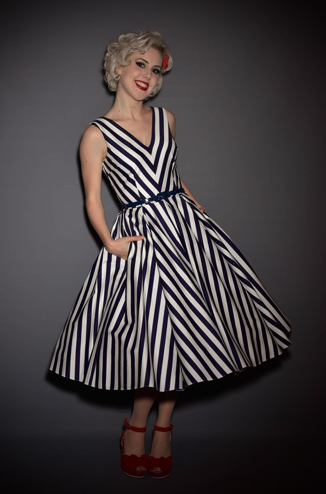 Navy Striped Ida Dress. 50's style stripe swing dress. Ideal for weddings & as a summer dress by The Pretty Dress Company at Deadly is the Female