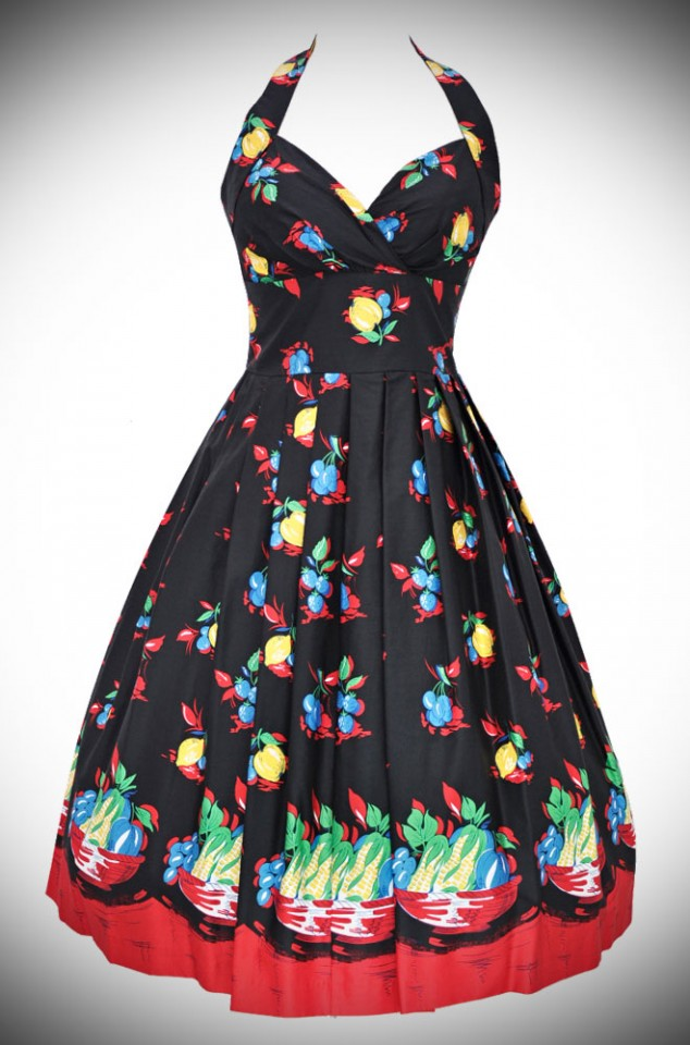Deadly is the Female are UK stockists of Retrospec'd Clothing. Introducing the Sophia - a 50's Novelty Dress with a black based Fruit Basket Print.