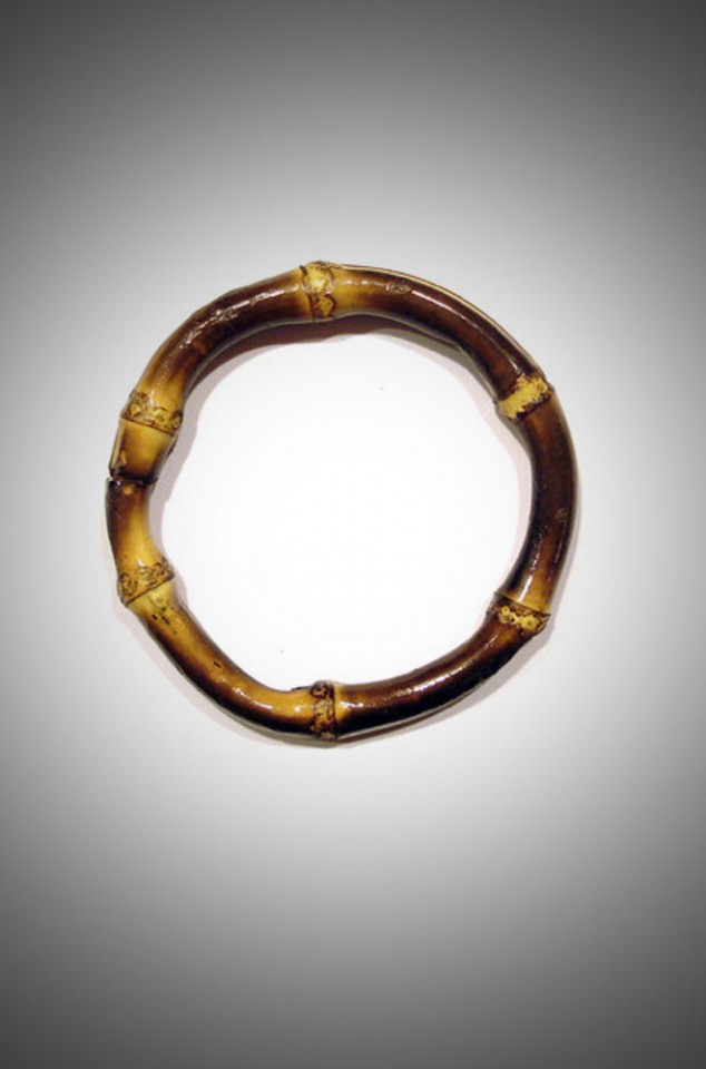 Super kitsch & tiki inspired, we adore these round burnt bamboo bangles here at Deadly is the Female!