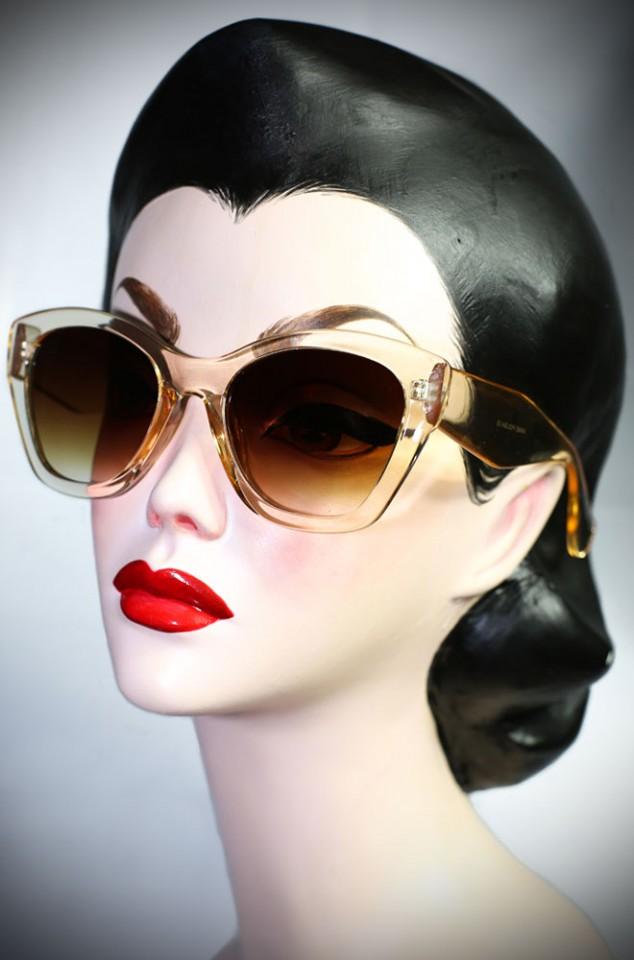 Clear 40's cats eye sunglasses at Deadly is the Female. Effortlessly add some pinup glamour to your day!
