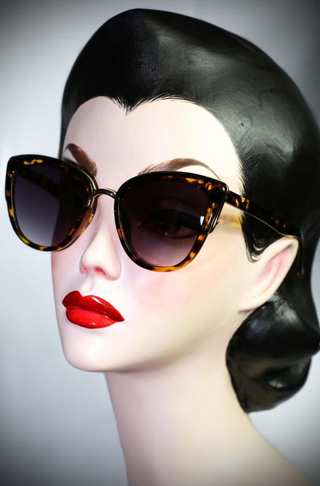 Vintage style Tortoiseshell Jackie Kennedy sunglasses at Deadly is the Female. Effortlessly add some pinup glamour to your day!