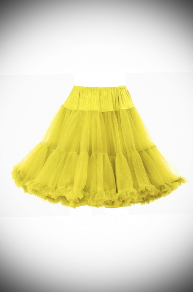 Jennifer 1950's style yellow chiffon petticoat - perfect for pinup swing dresses! The idea accessory for weddings & parties. Super soft and comfortable.